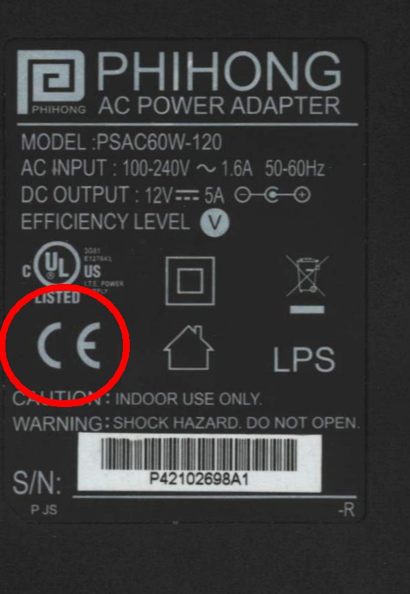 CE Mark shown on label on Reverse Side of Power Supply Unit